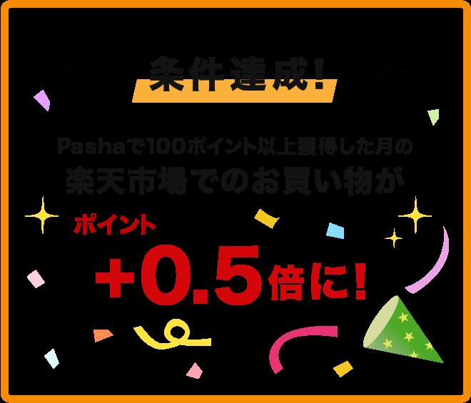 条件達成!Pashaで100ポイント獲得した月の楽天市場でのお買い物が+0.5倍に!